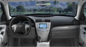 The comfortable, predictable interior of the Toyota Camry Hybrid (photo via Toyota.com)