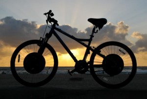 The in-wheel battery and motor design gives E+ bikes a distinctive silhouette (photo via Electric Motion Systems website)
